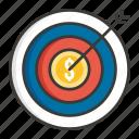 business, concept, development, idea, money, profit, target icon