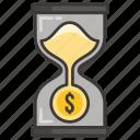 business, concept, development, hourglass, idea, money, profit icon