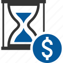 currency, dollar, glass, hour, sand icon