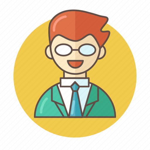 avatar, business, color, man, outlined, people, suit icon