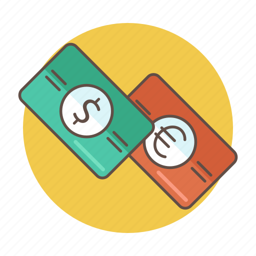 color, dollar, euro, exchange, money, outlined icon