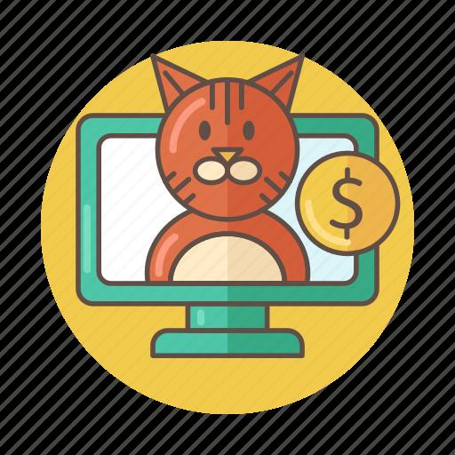 cat, color, online, outlined, pc, pet, shop icon