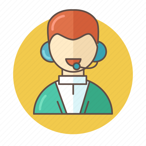 color, customer, man, mic, outlined, people, support icon