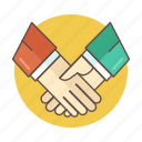 business, color, deal, hand, hand shake, outlined, partnership icon