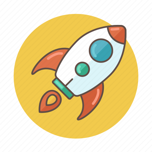 business, color, company, outlined, rocket, startup icon