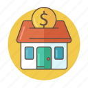 bank, color, estate, investment, money, outlined, real icon