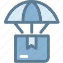 box, business, delivery, logistics, packages, parachute, shipping icon