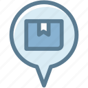 box, business, delivery, logistic, logistics, pin, transport location icon