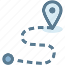 business, journey, location, logistics, path, pin, route icon