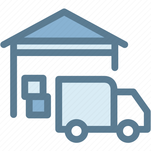 business, logistics, shipment, stock, storage, truck, warehouse icon