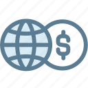 business, currency, dollar, exchange, exchange money, globe, money icon