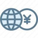 business, currency, exchange, exchange money, globe, money, yen icon