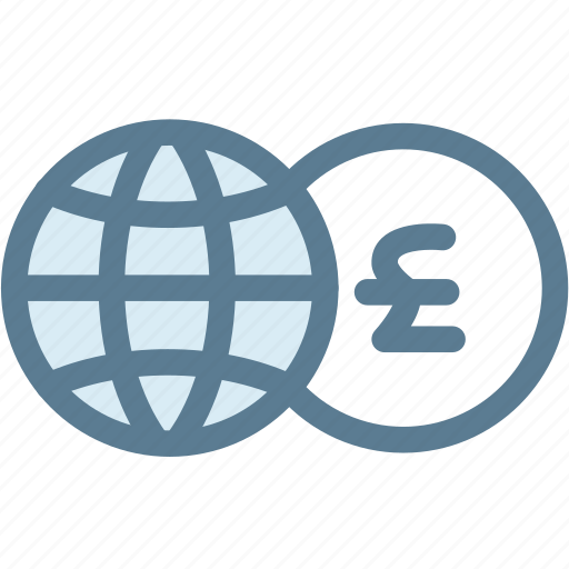 business, currency, exchange, exchange money, globe, money, pound icon