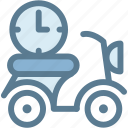 business, delivery, fast, fast delivery, logistics, scooter, time icon