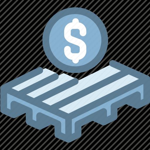business, logistics, money, pallet, sale pallet, ship icon