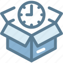 box, delivery, delivery time, logistics, package, schedule, time icon