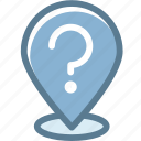 address, business, location, logistics, pin, question, what's location icon