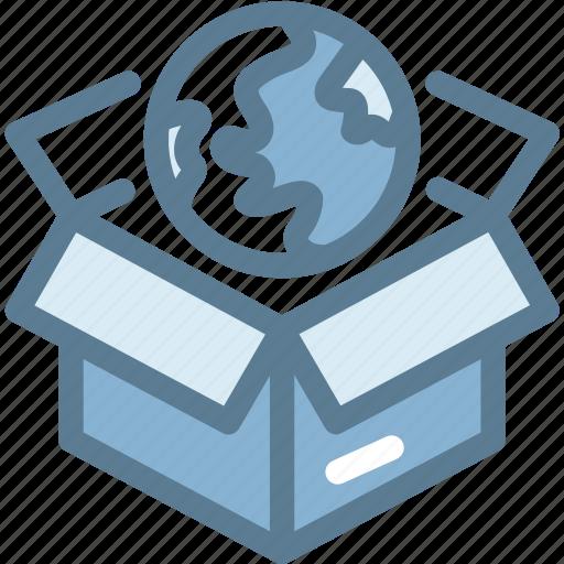 box network, business, globe, logistics, network, ship, shipping icon