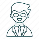 avatar, business, man, outline, people, suit icon