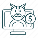 cat, money, online, outline, pc, pet, shop icon