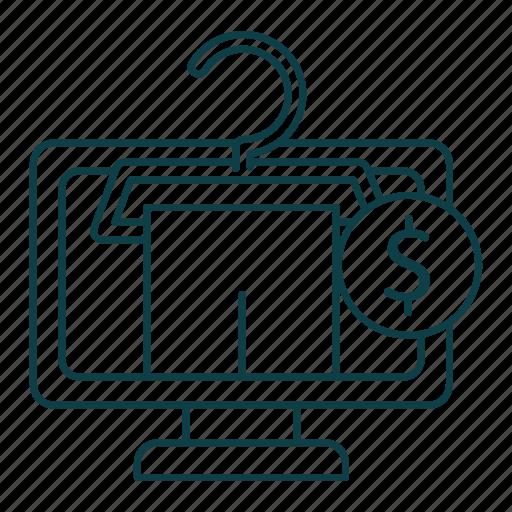 e-commerce, money, online, outline, shop, store, t-shirt icon
