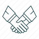 business, deal, hand, outline, partnership, shakehand icon