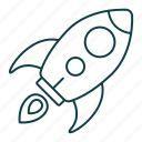 business, company, launch, outline, rocket, startup icon
