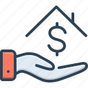 borrower, house, lender, bribery, loan money, installment, investment icon
