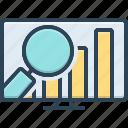financial, infographic, magnifier, market, market analytics, revenue, review