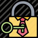 business, secret, padlock, key, privacy