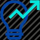arrow, bulb, energy, graph, idea, light icon