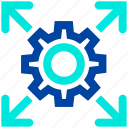 arrows, business, cog wheel, gear, setting icon