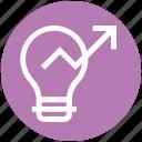 arrow, bulb, energy, graph, idea, light