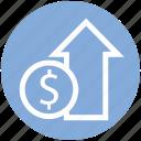 coin, dollar, dollar coin, income, profit, up arrow icon