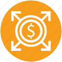 arrows, business, coin, dollar, finance, investment, money icon