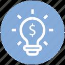 bulb, dollar, idea, light, money, solution icon