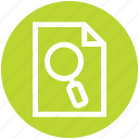 document, magnifier, page, paper, search, view icon