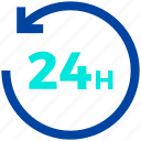 24 hours, arrow, circle, schedule icon