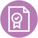 award, checklist, document, file, medal, paper, prize icon
