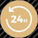 24 hours, arrow, circle, schedule