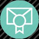 certificate envelope, envelope, letter, medal, message, political certificate, prize