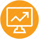 arrow, bar, business, graph, lcd, monitor, screen