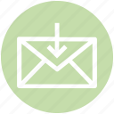 down arrow, download, envelope, letter, mail, message, receive icon