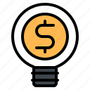 business, idea, lightbulb, money icon