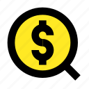 business, dollar, magnify, money, profit, search icon