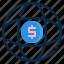 browser, dollar, globe, internet, network, world icon