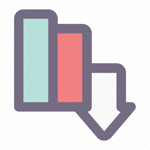 bar, business, chart, diagram, down, graphic, office icon