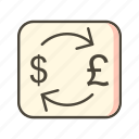 currency, dollar, exchange, pound icon