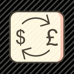 dollar, exchange, pound icon