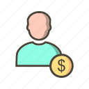 avatar, dollar, money, user icon